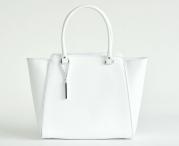 Bright Elegantní kožená kabelka matná A4 do ruky bílá