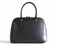 Bright Elegantní kožená kabelka oblá zipová do ruky A5 3/4 zip šedá