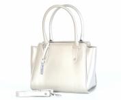 Bright Elegantní kožená kabelka zipová do ruky A5 perleťová zlatá