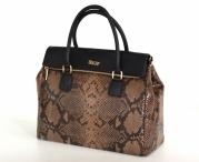 BRIGHT Fashion kabelka velká lesklý had kožená do ruky hnědá