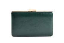 Společenská kabelka rámečková hladká lesklá tmavě zelená