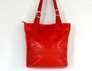 Fashion kabelka dámská kožená broušená A4 červená