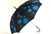 H.DUE.O Deštník dámský tyčový vystřelovací kytka černo-tyrkysový