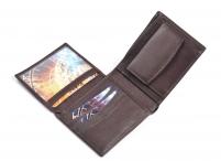 Pánská kožená peněženka klasická matná na šířku hnědá