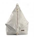 Bright dámský kožený batoh s kolmým zipem šedý