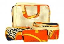 BRIGHT Kosmetická taška - set 4 etuí průhledná A5 barevná