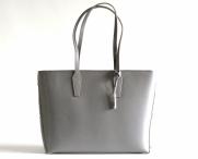 Bright Elegantní kožená kabelka A4 do ruky jemně lesklá šedá