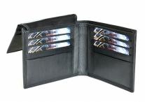 Pánská kožená peněženka dokladová na šířku bez kapsy na drobné černá