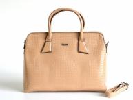 Bright Elegantní kabelka A4 do ruky lesklá dvojzipová béžová