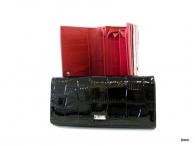 BRIGHT Dámská peněženka psaníčko kroko lak černá (stříbrný štítek)