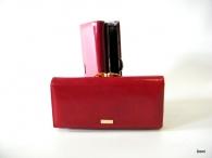 BRIGHT Dámská peněženka s rámečkem a přepážkou hladká kůže červená (zlatý štítek)