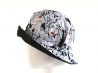 H.DUE.O Dámský klobouk v pouzdru motiv komiks bílo-černý
