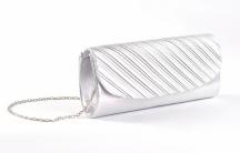 Společenská kabelka - psaníčko řasená lesklá stříbrná