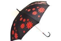 H.DUE.O Deštník dámský tyčový vystřelovací kytka černo-červený