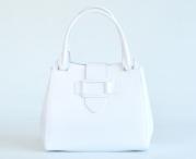 Bright Elegantní dámská kabelka kožená A4 do ruky perleťová bílá