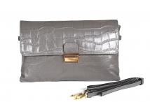 BRIGHT kabelka - psaníčko kožená XL kroko se zámečkem šedá