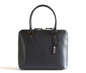 Bright Elegantní kožená kabelka hranatá zipová do ruky A5 3/4 zip šedá