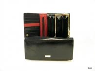 BRIGHT Dámská peněženka psaníčko s rámečkem hladká kůže černá (zlatý štítek)