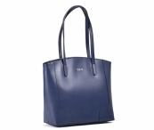 Bright Elegantní kabelka kožená A4 hladká přes rameno modrá