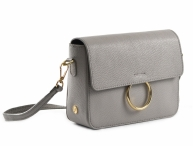 Bright Elegantní dámská kabelka menší kožená s kroužkem šedá