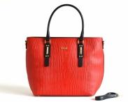 BRIGHT Fashion kabelka kožená do ruky vzor dřeva A4 červeno-černá
