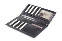 Unisex kožené pouzdro na vizitky, letenky nebo doklady černé