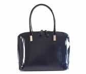Bright kabelka kožená laková A4 s proužky s 3/4 zipem do ruky modrá