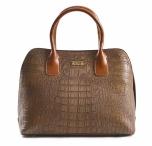 Bright Elegantní kabelka do ruky se vzorem krokodýlí kůže A5 hnědá