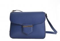 Bright Dámská kabelka menší s klopnou kožená modrá