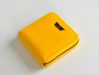 Bright Dámská peněženka zipová kožená hluboká čtvercová žlutá