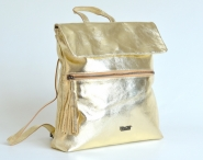Fashion kožený kabelko-batoh hladký s klopnou A4 zlatý