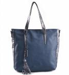 Bright Fashion kabelka A4 s hadím vzorem velká modrá