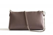 Bright Elegantní kožená společenská kabelka kožená malá béžovo-šedá