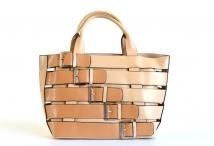 Bright Extravagantní kabelka A4 pásková se sponami 2v1 béžová