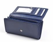 Dámská kožená peněženka na šířku s vnější dokladovkou vybavená modrá