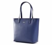 Bright Dámská elegantní kožená kabelka A4 hladká modrá