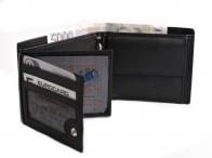 Bright Pánská peněženka kožená zapínací doklady na šířku černá