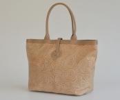 Bright Krásná kabelka-vak kožená s polokroužkovým vzorem A4 béžová