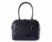 Bright krásná kabelka kožená A4 se vzorem laková modrá