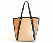 Bright Atraktivní kabelka A4 tříbarevná lesklá béžová