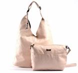 Bright Fashion kabelka - vak + kapsa 2v1 přes rameno A4 béžová