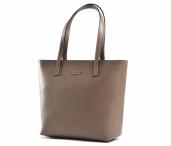 Bright Dámská elegantní kožená kabelka A4 hladká šedo-hnědá