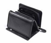 Dámská kožená peněženka na výšku menší se zipem na mince černá