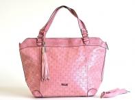 Atraktivní kabelka Bright A4 na dokumenty na rameno perforovaná růžová