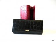 BRIGHT dámská peněženka s velkou zipovou vnější kapsou kroko matné (stříbrný štítek) černá
