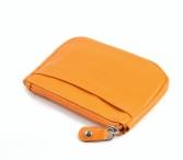Bright Peněženka na mince a kartu kožená na zip oranžová