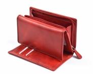 Dámská kožená peněženka s vnějším zipem dokladová na výšku červená